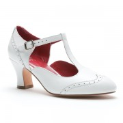 """23 Skidoo"" Spectator T-Strap Shoes (White)"