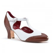 """23 Skidoo"" Spectator T-Strap Shoes (Brown/White)"