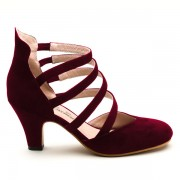 """Noire"" 1940s Strappy Pumps (Burgundy)(Pre-Order)"