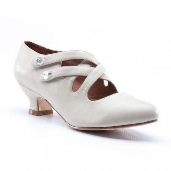 """Astoria"" Edwardian Leather Shoes (Ivory)"