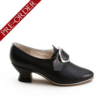 """Fraser"" 18th Century Leather Shoes (Black)(1700-1760)(Pre-Order)"
