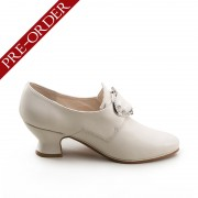 """""""Fraser"""" 18th Century Leather Shoes (Ivory)(1700-1760)(Pre-Order)"""
