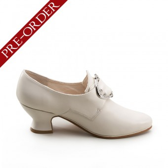 """Fraser"" 18th Century Leather Shoes (Ivory)(1700-1760)(Pre-Order)"