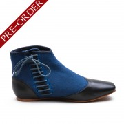 """Gettysburg"" Victorian Side-Lace Boots (Blue)(1830-1860s)(Pre-Order)"
