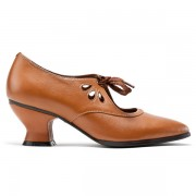 """""""Gibson"""" Edwardian Leather Shoes (Tan/Brown)(1900-1925)"""