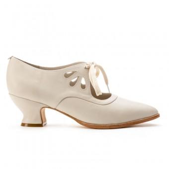 """""""Gibson"""" Edwardian Leather Shoes (Ivory)(1900-1925)"""