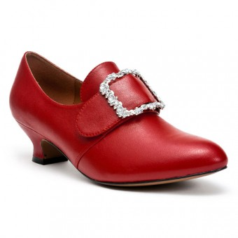 """Kensington"" 18th Century Leather Shoes (Red)"