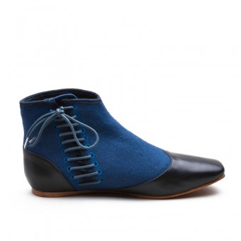"""Gettysburg"" Victorian Side-Lace Boots (Blue)(1830-1860s)"