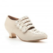 """Savoy"" Edwardian Leather Shoes (Ivory)"
