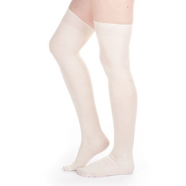 1920s Style Stockings & Socks Silk Stockings (Ivory Plain) $25.00 AT vintagedancer.com